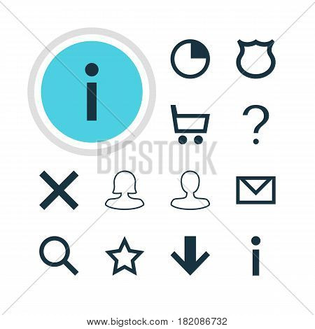 Vector Illustration Of 12 Interface Icons. Editable Pack Of Seek, Info, Female User And Other Elements.