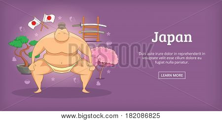 Japan banner horizontal concept sumo. Cartoon illustration of Japan sumo banner horizontal vector for web