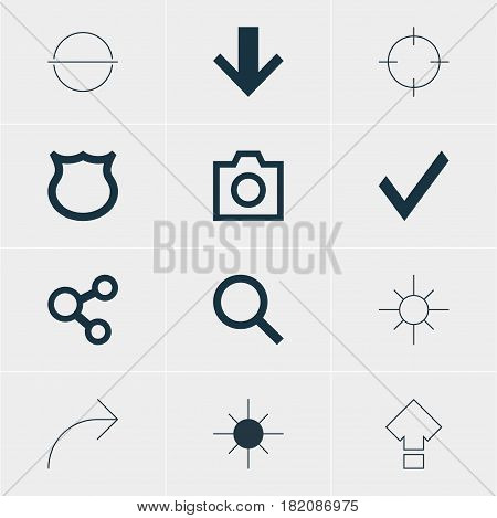 Vector Illustration Of 12 Interface Icons. Editable Pack Of Conservation, Downward, Share And Other Elements.
