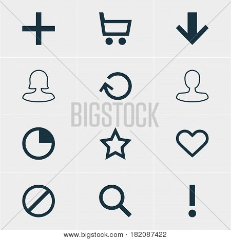 Vector Illustration Of 12 Interface Icons. Editable Pack Of Plus, Female User, Access Denied And Other Elements.