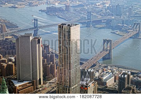 Aerial view of the New York City with two bridges.