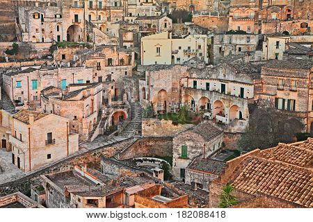 Matera, Basilicata, Italy: cityscape at sunrise of the picturesque old town (sassi di Matera) European Capital of Culture 2019