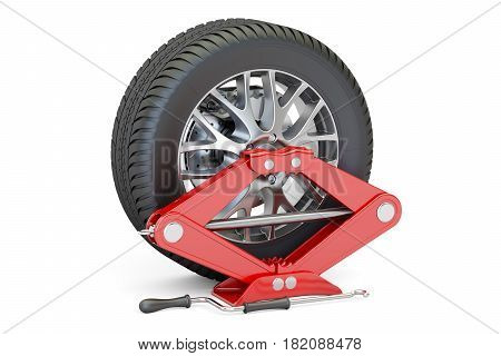 Car wheel with red screwjack 3D rendering isolated on white background
