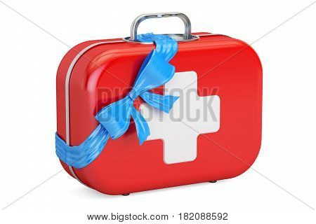First Aid Kit with bow and ribbon gift concept. 3D rendering isolated on white background