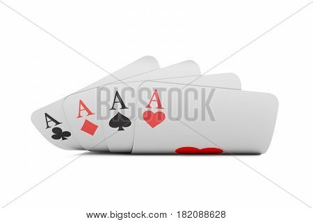 Four aces 3D rendering isolated on white background