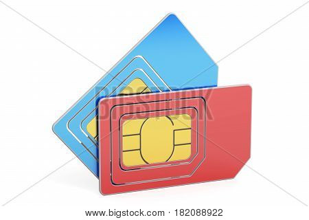 SIM cards 3D rendering isolated on white background