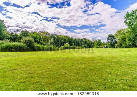 beautiful summer landscape with soft green grass trees Snug Harbor Cultural Center Botanical Garden
