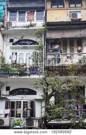 Hanoi, Vietnam - March 9, 2017:  Typical building in Hanoi, Vietnam`s capital.