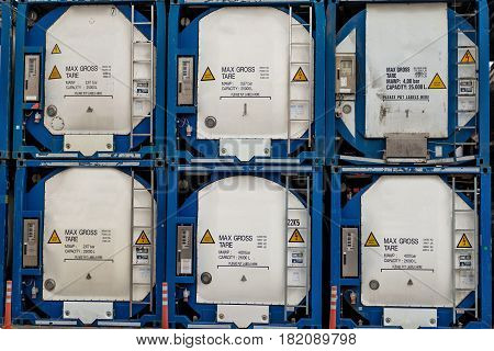 Maritime transportation industry. Gaseous substances container row.