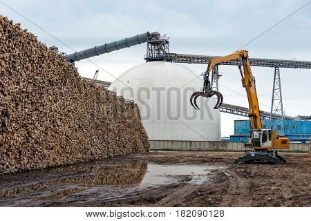Maritime transportation industry. Log loading tractor standing near a pile of logs.