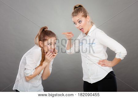 Angry Fury Girl Screaming At Her Friend Or Younger Sister