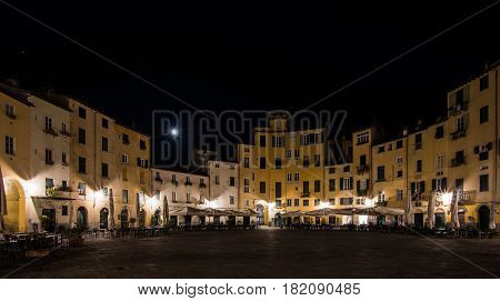 Piazza dell'Anfiteatro is a public square in the northeast quadrant of walled center of Lucca region of Tuscany Italy