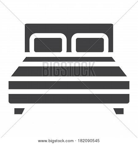 Double bed solid icon, Furniture and interior element, vector graphics, a filled pattern on a white background, eps 10.
