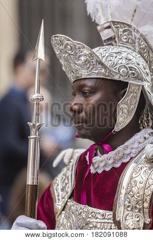 Linares, Spain - April, 14: Man of dress of Roman popular tradition during Easter, Roman soldiers, called