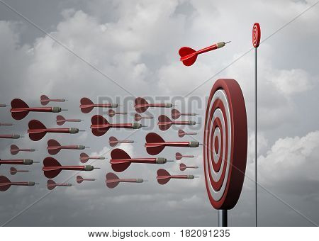Business niche market and specializing in a smaller opportunity as an individual dart going a different way as a metaphor for strategic planning as a 3D illustration.