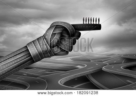 Business group advice and corporate company direction as businesspeople guided by roads shaped as a pointing hand with 3D illustration elements.