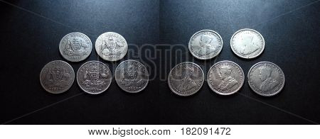 Pre Decimal Vintage and antique Australian silver One Shilling coin Photo.