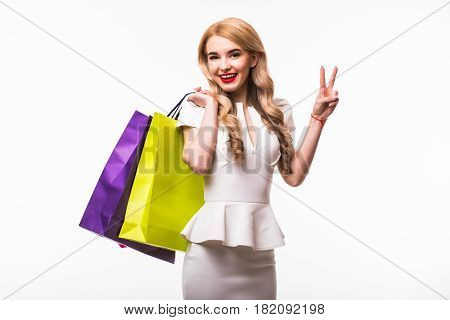Woman With Shopping Bags On White Background
