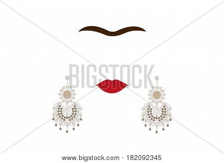 earrings, Mexican crafts, women's jew-ellery, minimal portrait Frida Kahlo, vector illustration isolated