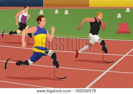 A vector illustration of Disabled Athletes in Running Competition