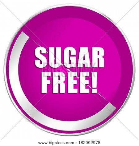 Sugar free web design violet silver metallic border internet icon.