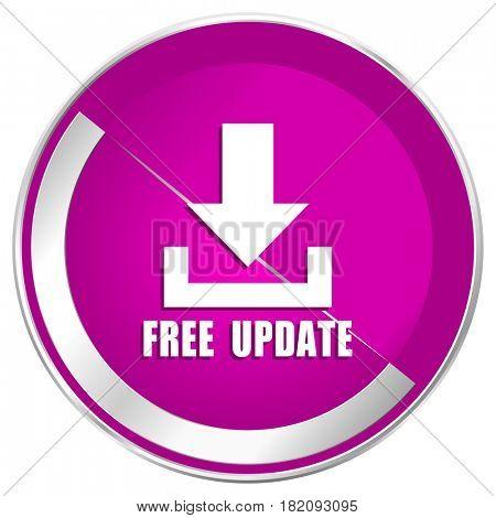 Free update web design violet silver metallic border internet icon.