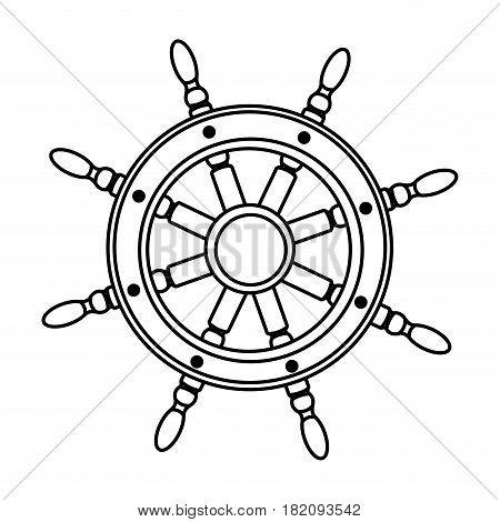 monochrome silhouette of boat helm vector illustration