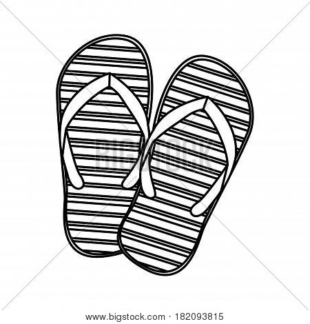 monochrome silhouette of beach flip-flops vector illustration