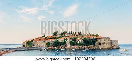 Island of Sveti Stefan in Montenegro. Panoramic shot