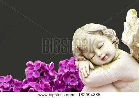Angel and lilac flowers on dark grey background