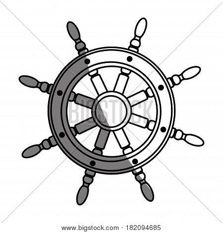 monochrome silhouette of boat helm with half shadow vector illustration