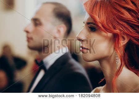 Stylish Bride Crying During Matrimony Wedding Ceremony In Church, Tears On Cheek. Emotional Moment,