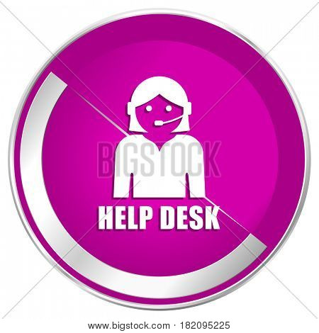 Help desk web design violet silver metallic border internet icon.