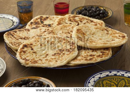 Traditional Moroccan pancakes, meloui for breakfast breakfast