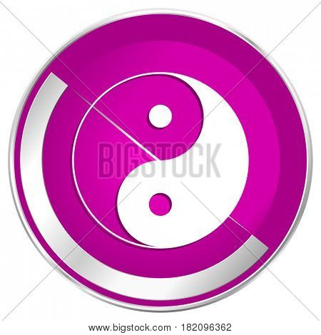 Ying yang web design violet silver metallic border internet icon.