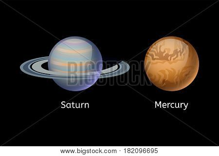 High quality mercury planet galaxy astronomy and saturn universe science globe cosmos orbit star vector illustration. Astrology planetary world exploration journey scientific surface.