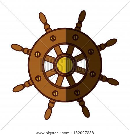 colorful silhouette of boat helm with middle shadow vector illustration