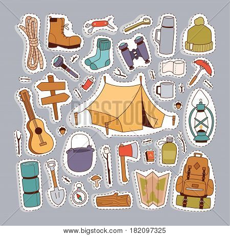 Set of camping stickers in hand drawn style tent, flashlight, match, compass, thermos. Expedition concept camping stickers icons. Vector travel outdoor camp recreation expedition.