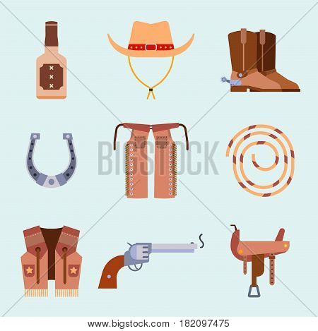 Wild west elements set icons cowboy rodeo equipment and different accessories vector illustration. Texas american western emblem decorative country vintage collection.