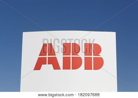 Odense, Denmark - April 9, 2017: ABB logo on a panel. ABB is a Swedish-Swiss multinational corporation operating mainly in robotics and the power and automation technology areas