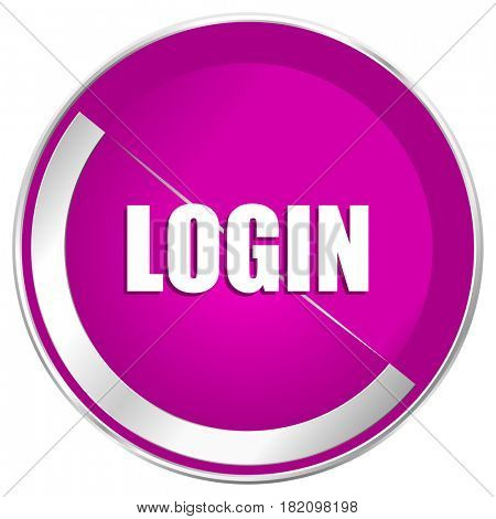 Login web design violet silver metallic border internet icon.