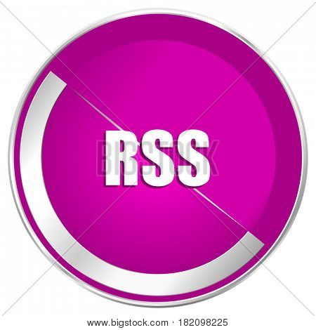 Rss web design violet silver metallic border internet icon.