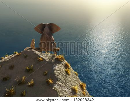 elephant and dog rest on a crag near the sea, 3d illustration