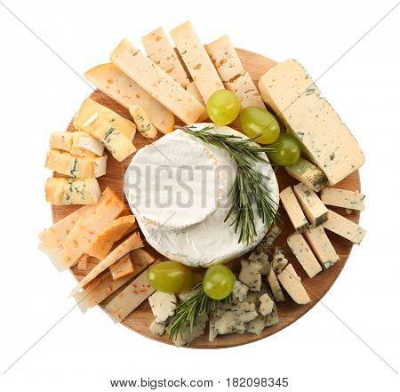 Board with variety of cheese on white background