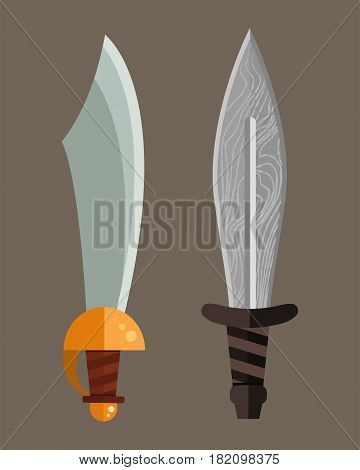 Knife weapon dangerous metallic sword vector illustration of sword spear edged set. Combat and bonder bayonet cold protection or attack steel arms. Warfare defense security traditional antique razor.