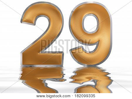 Numeral 29, Twenty Nine, Reflected On The Water Surface, Isolated On  White, 3D Render