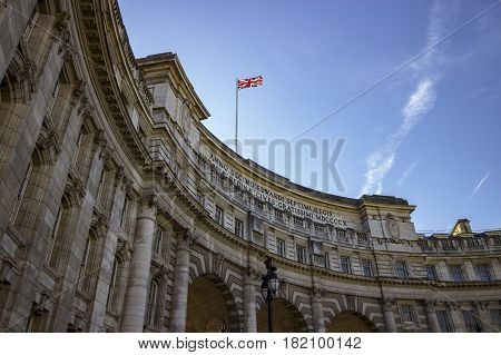 Closer look at the Admiralty Arch landmark building in London on a warm and sunny day.
