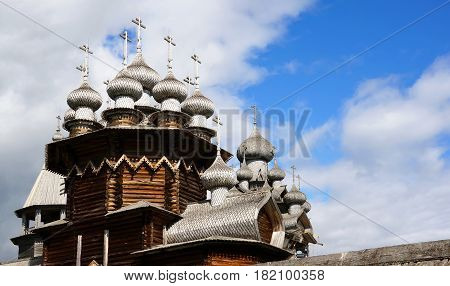 Church of the Transfiguration in Kizhi on lake Onega wooden dome of the small lime dice in a horizontal format