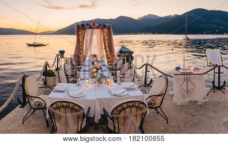 Wedding table on the shore. Wedding in Montenegro