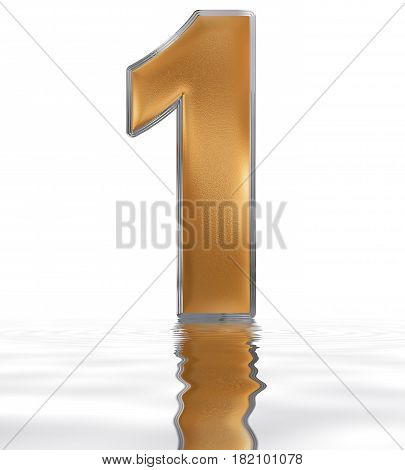 Numeral 1, One, Reflected On The Water Surface, Isolated On  White, 3D Render